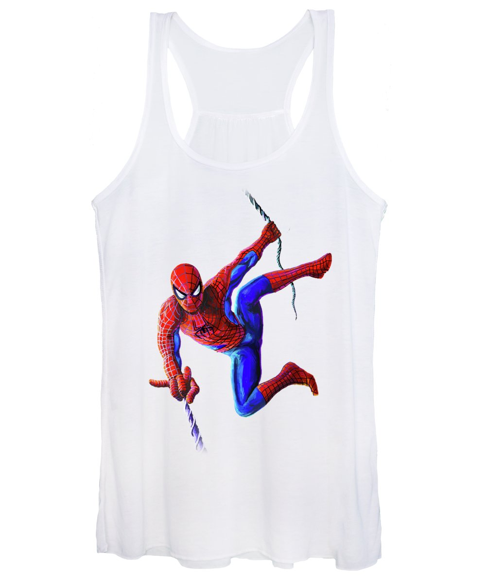 Hero Women's Tank Top featuring the painting Spiderman by Anthony Mwangi