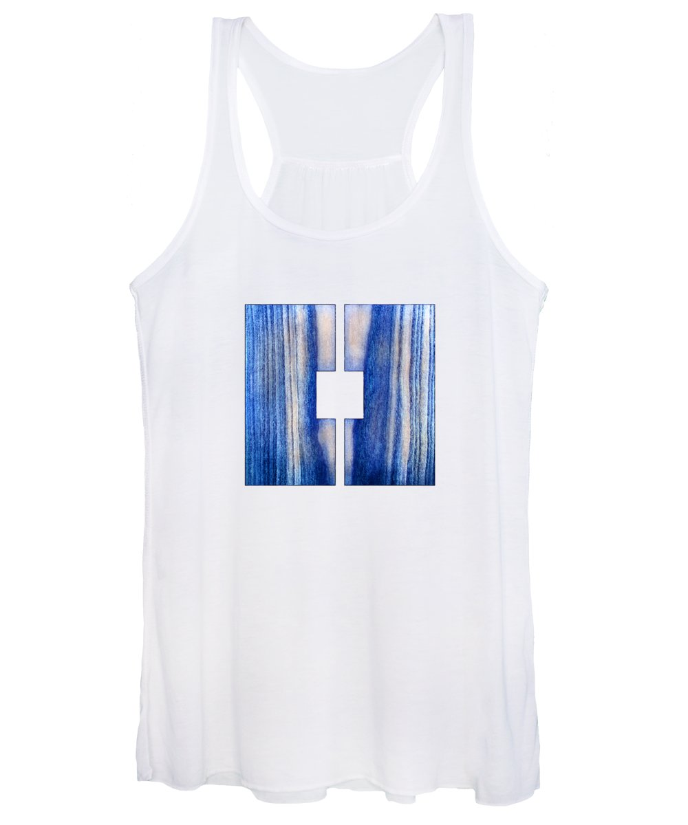 Block Women's Tank Top featuring the photograph Split Square Blue by YoPedro