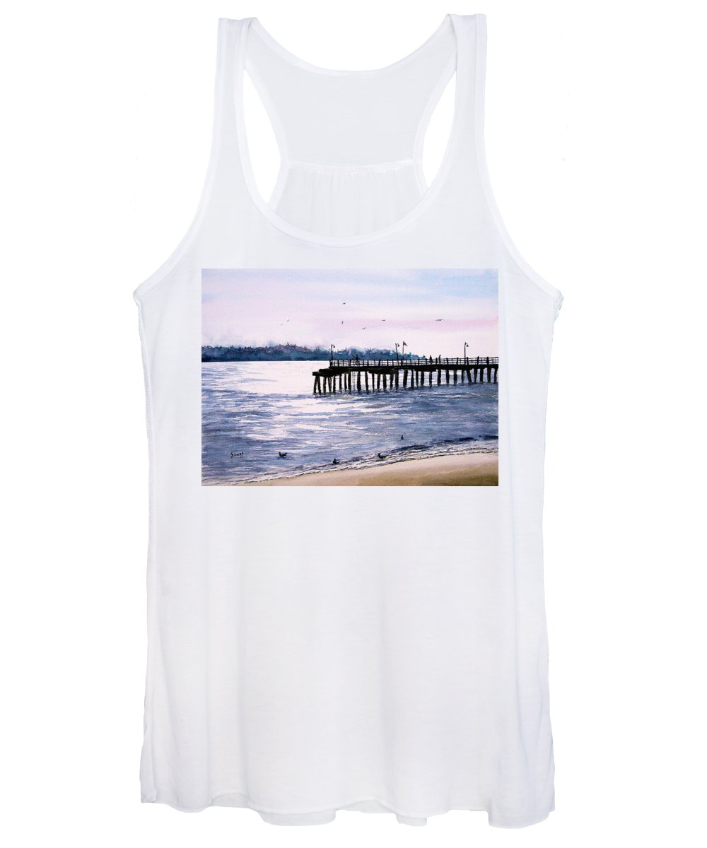 Fishing Women's Tank Top featuring the painting St. Simons Island Fishing Pier by Sam Sidders