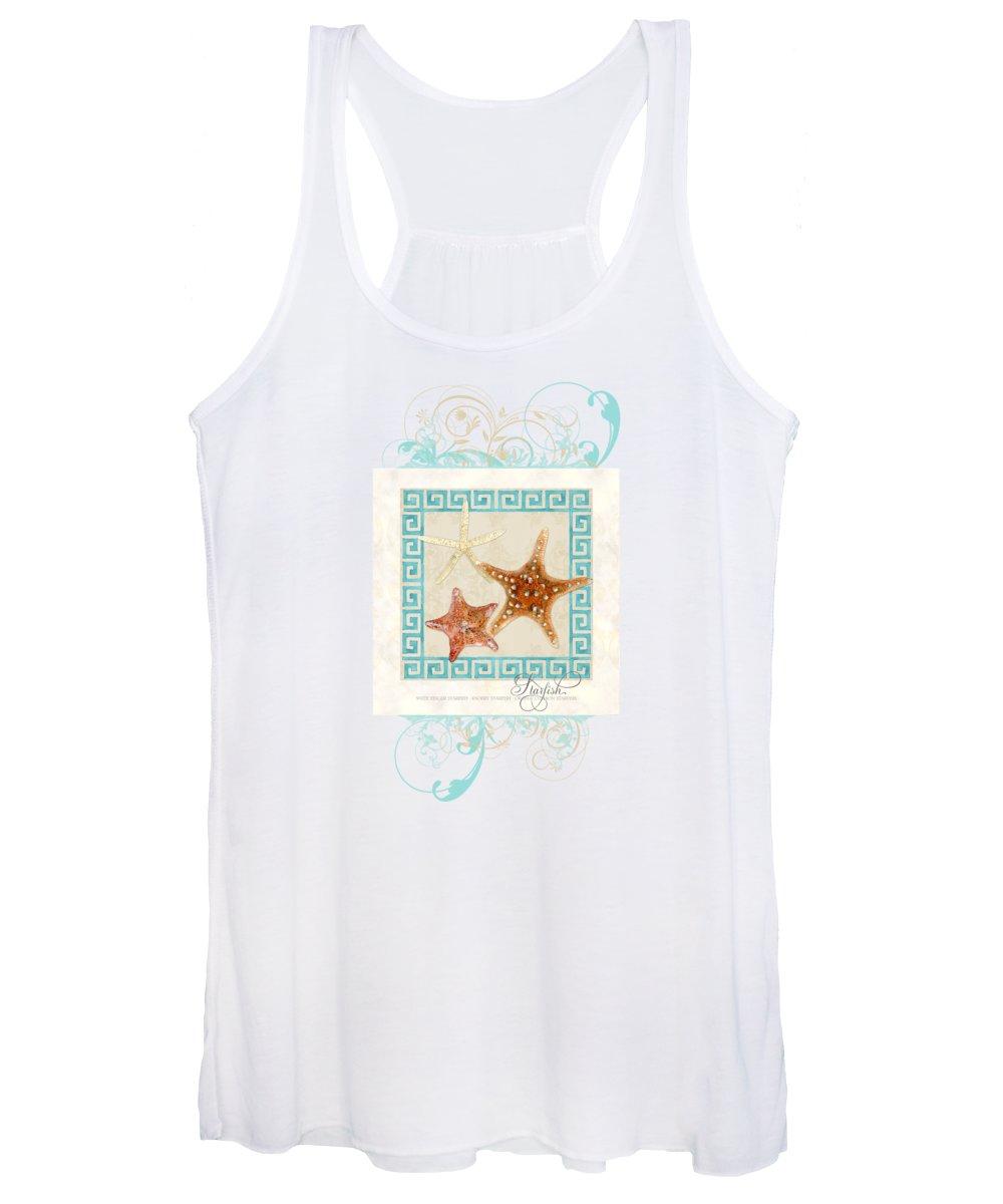 White Finger Starfish Women's Tank Top featuring the painting Starfish Greek Key Pattern W Swirls by Audrey Jeanne Roberts