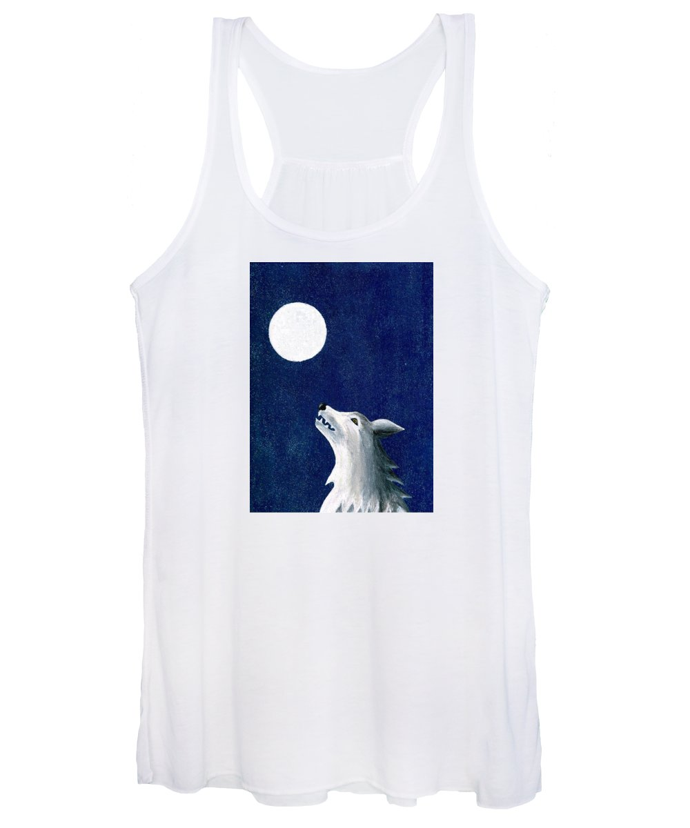 Wolf Women's Tank Top featuring the painting Starry Night by Janremi B