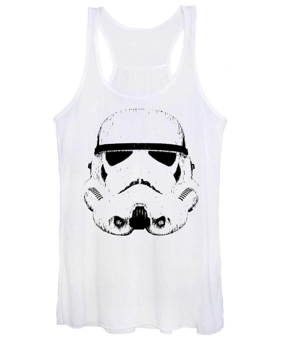 Star Wars Women's Tank Top featuring the digital art Stormtrooper Helmet Star Wars Tee Black Ink by Edward Fielding