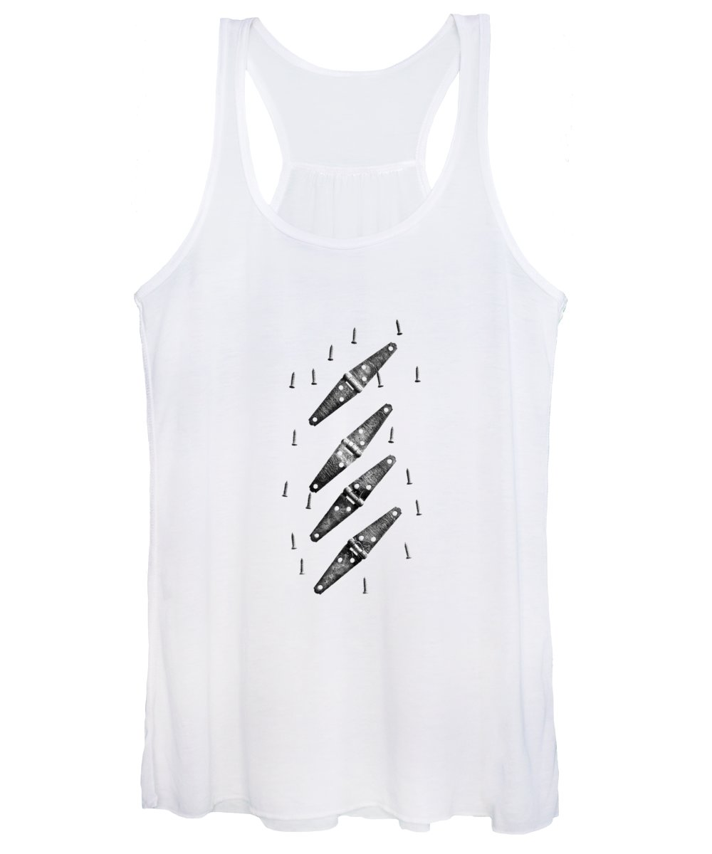 Art Women's Tank Top featuring the photograph Strap Hinges And Screws by YoPedro