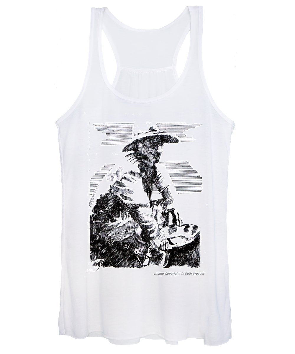 1850's Old West Women's Tank Top featuring the drawing Striking It Rich by Seth Weaver