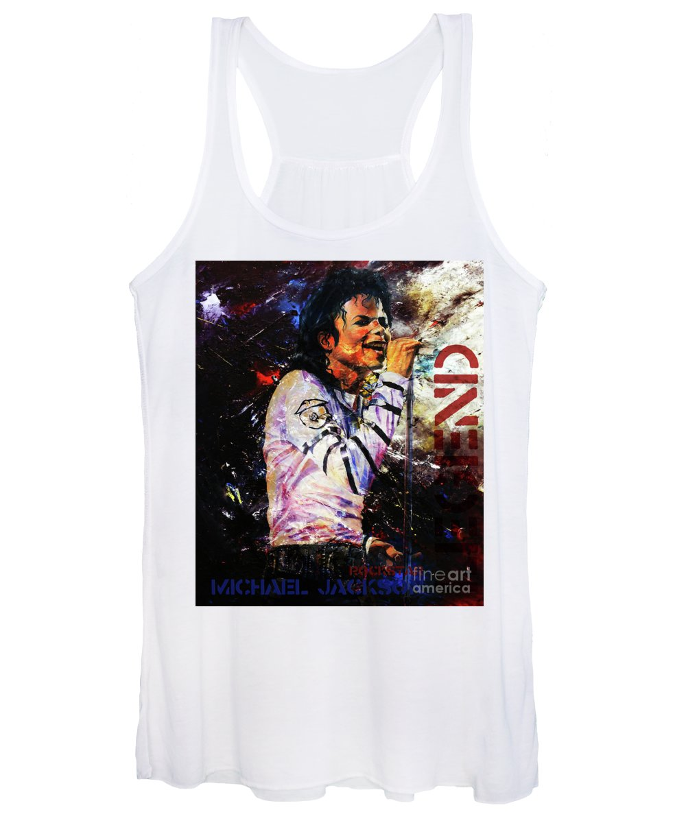 Michael Jackson Women's Tank Top featuring the painting The Legend by Gull G