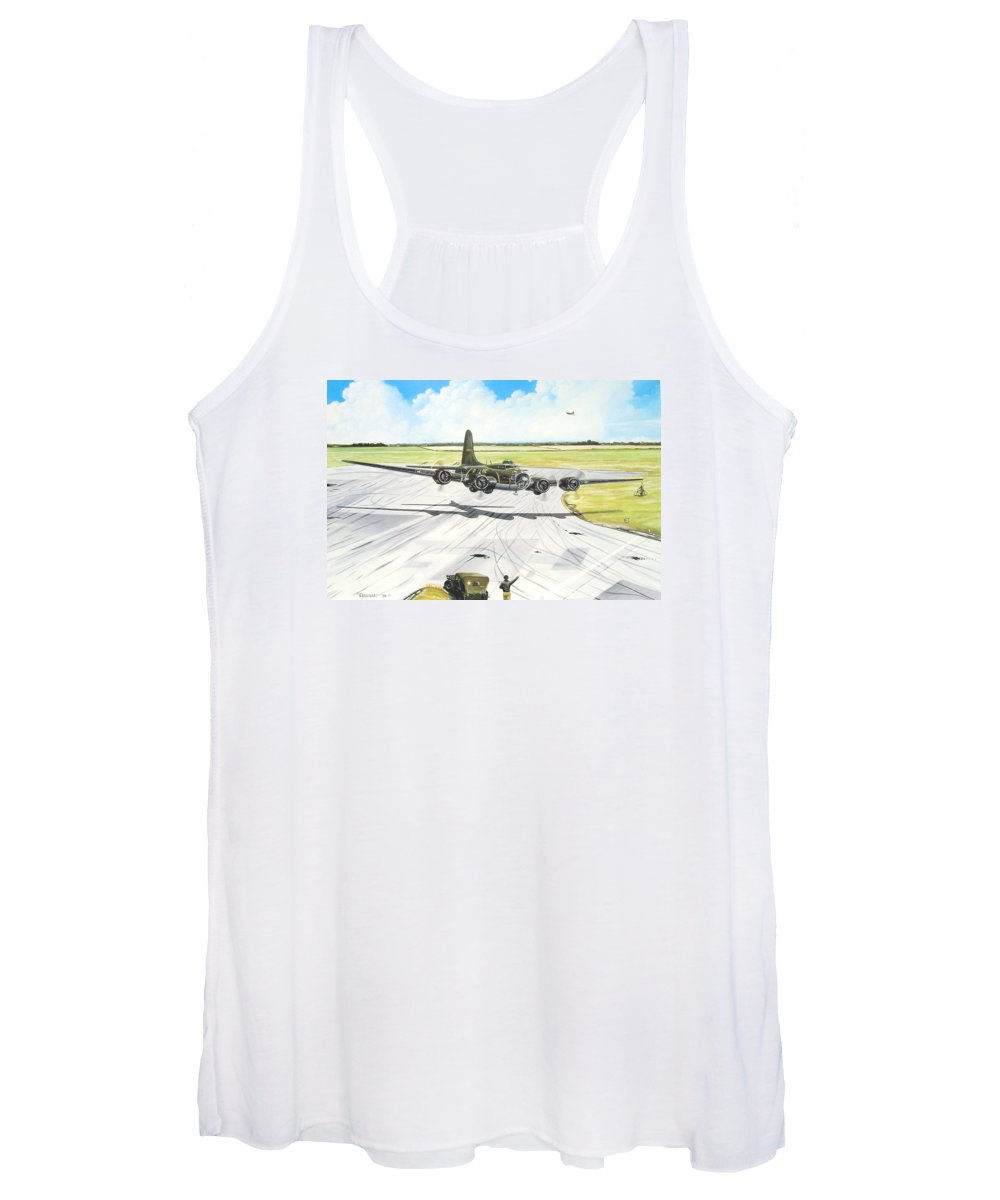 Military Women's Tank Top featuring the painting The Memphis Belle by Marc Stewart