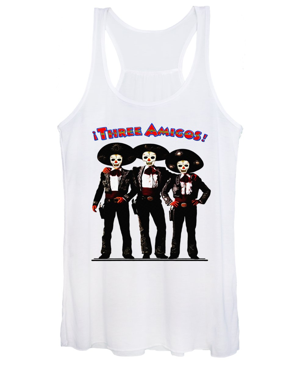 Three Women's Tank Top featuring the photograph Three Amigos - Day Of The Dead by Bill Cannon