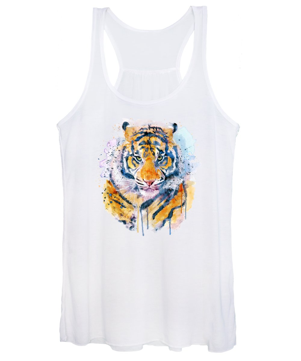 Tiger Women's Tank Top featuring the painting Tiger Face by Marian Voicu