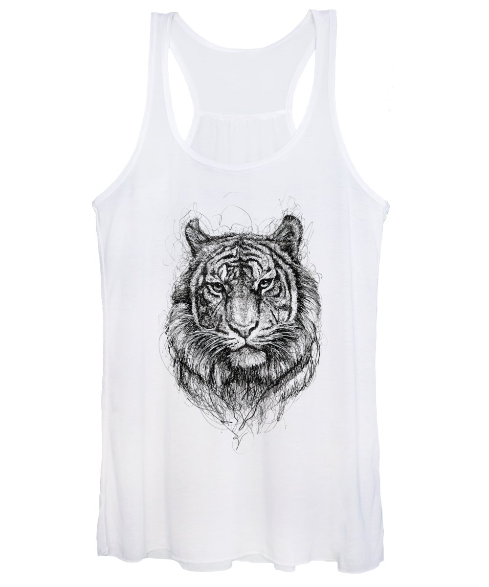Tiger Women's Tank Top featuring the drawing Tiger by Michael Volpicelli