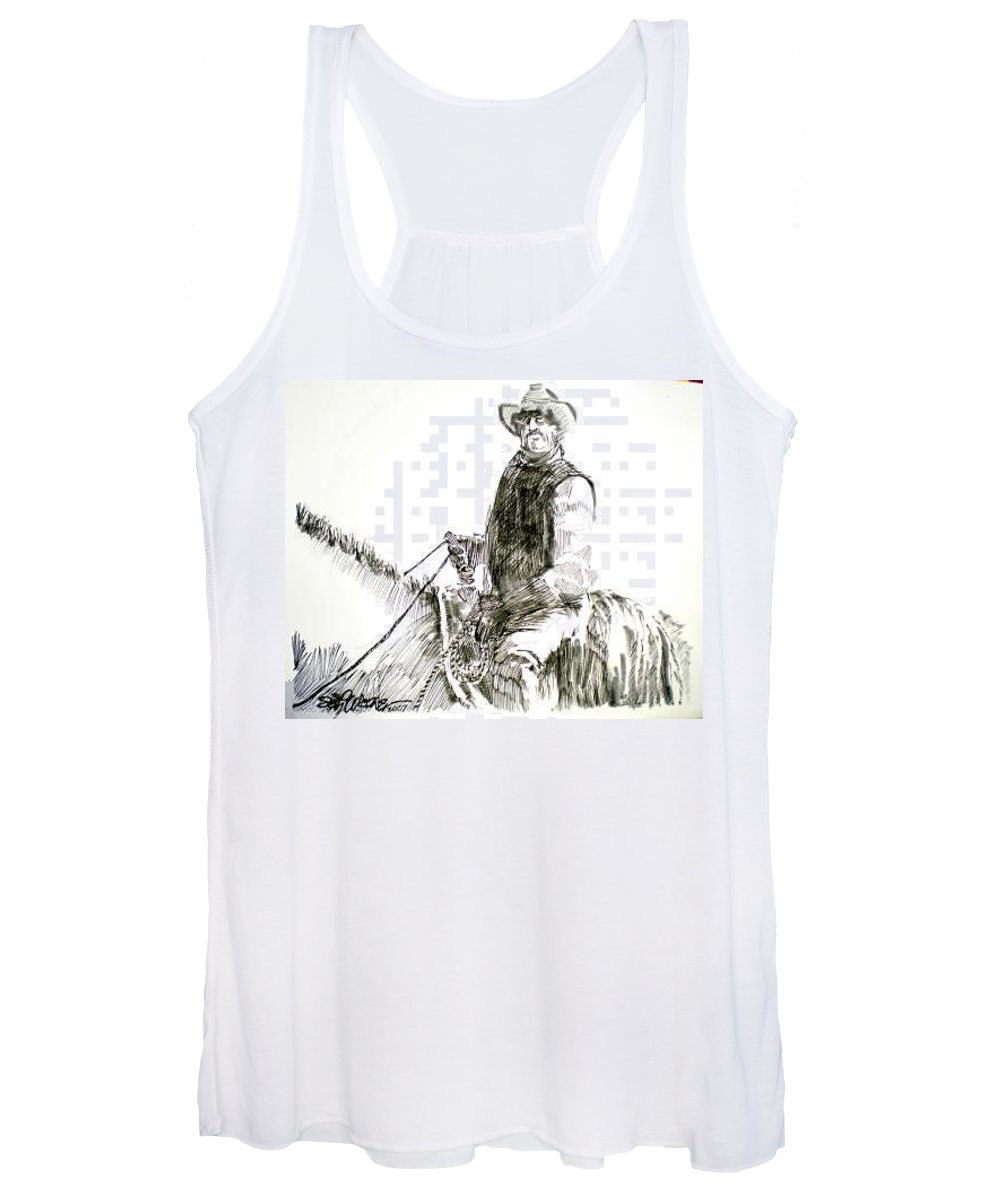 Trail Boss Women's Tank Top featuring the drawing Trail Boss by Seth Weaver
