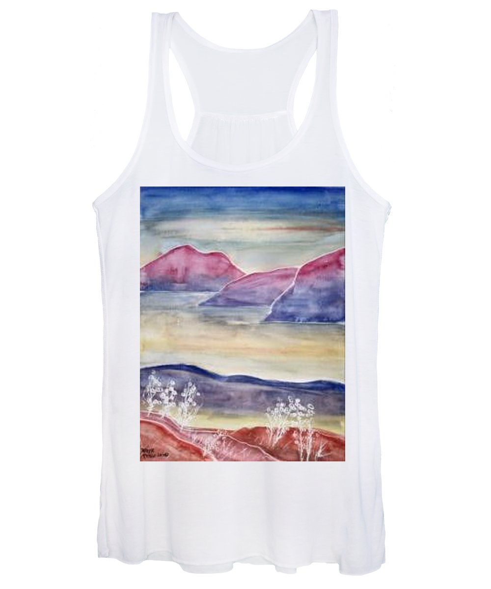 Watercolor Women's Tank Top featuring the painting TRANQUILITY 2 mountain modern surreal painting print by Derek Mccrea
