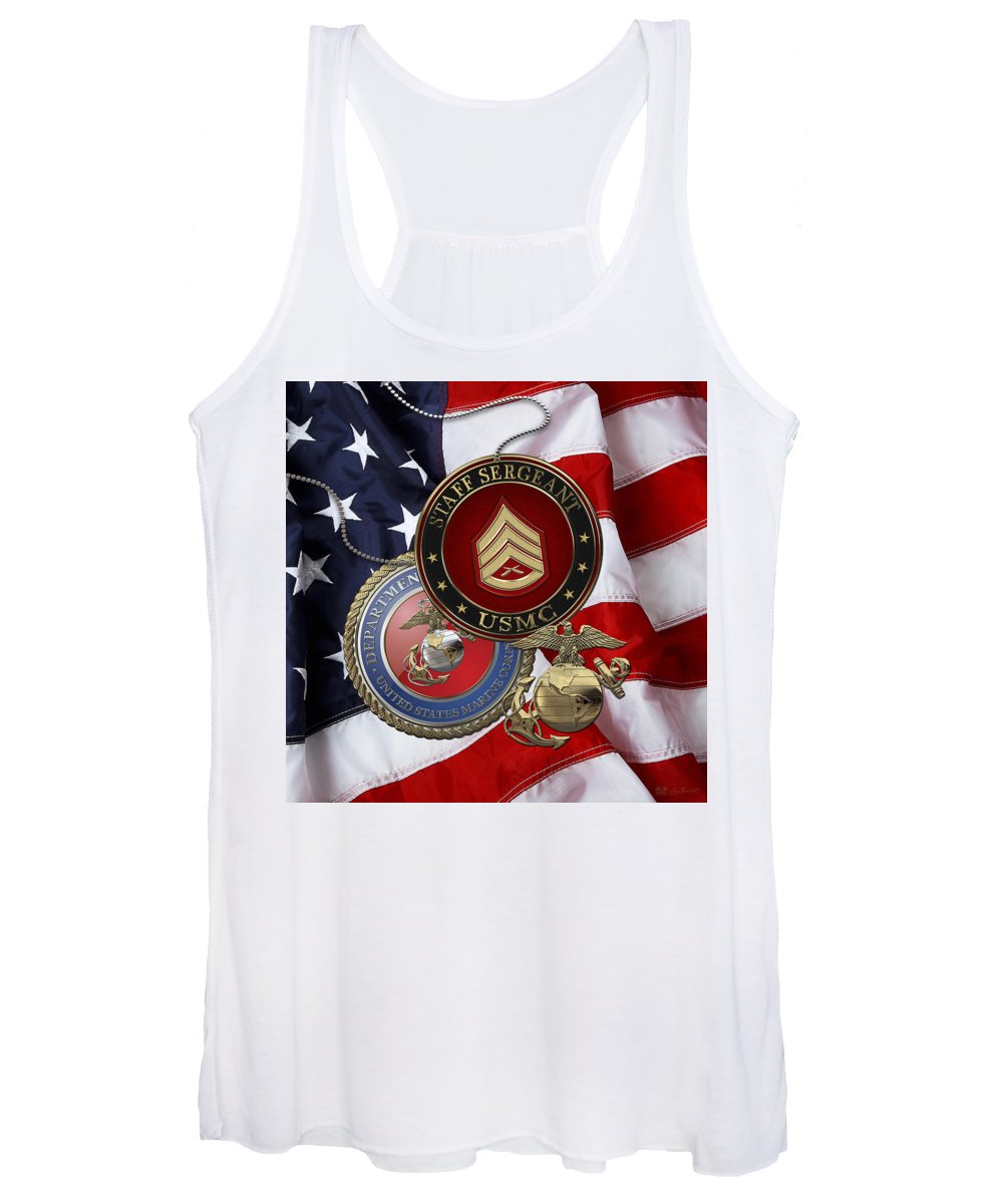 'military Insignia 3d' By Serge Averbukh Women's Tank Top featuring the digital art U. S. Marines Staff Sergeant Rank Insignia Over American Flag by Serge Averbukh