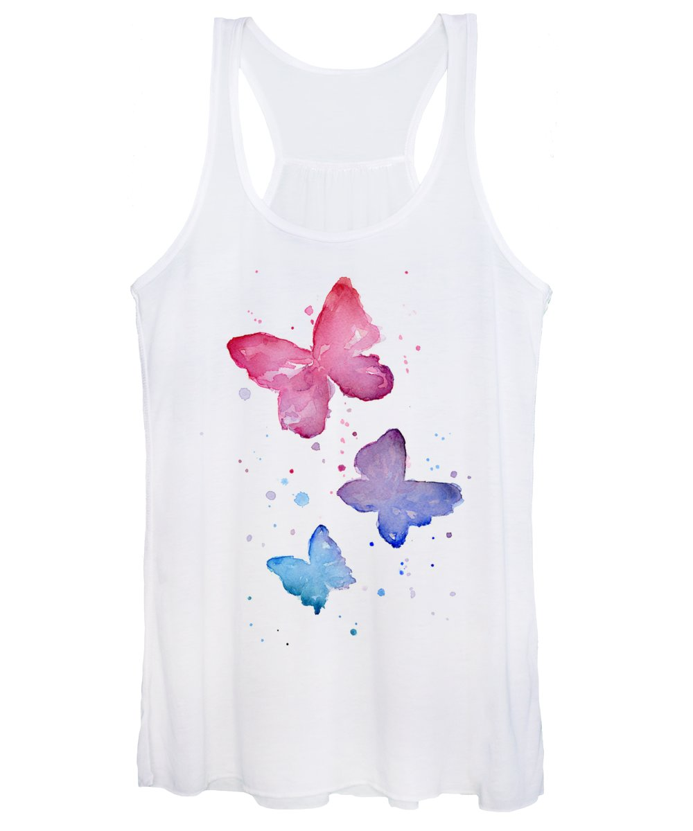Watercolor Women's Tank Top featuring the painting Watercolor Butterflies by Olga Shvartsur