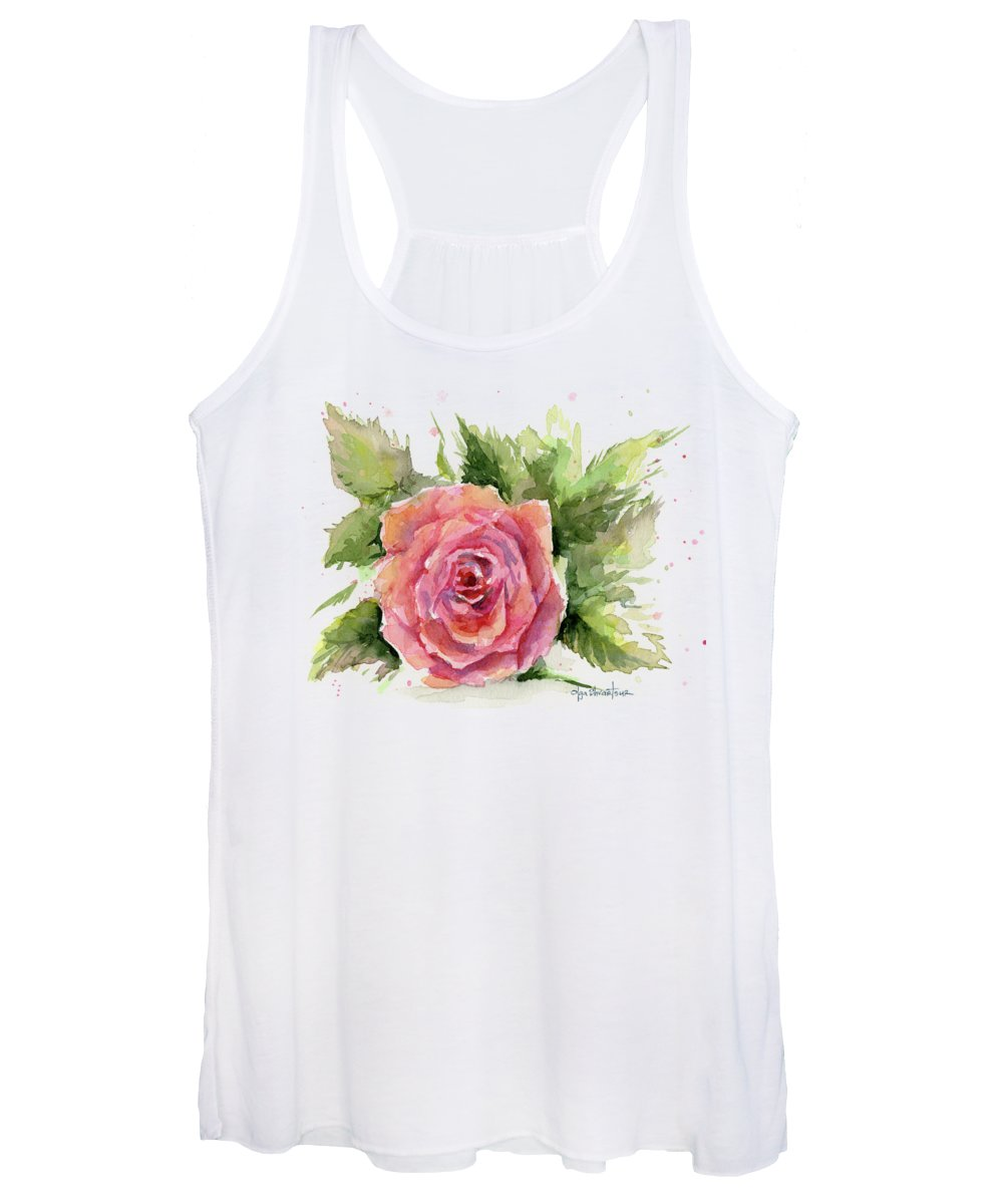 Rose Women's Tank Top featuring the painting Watercolor Rose by Olga Shvartsur