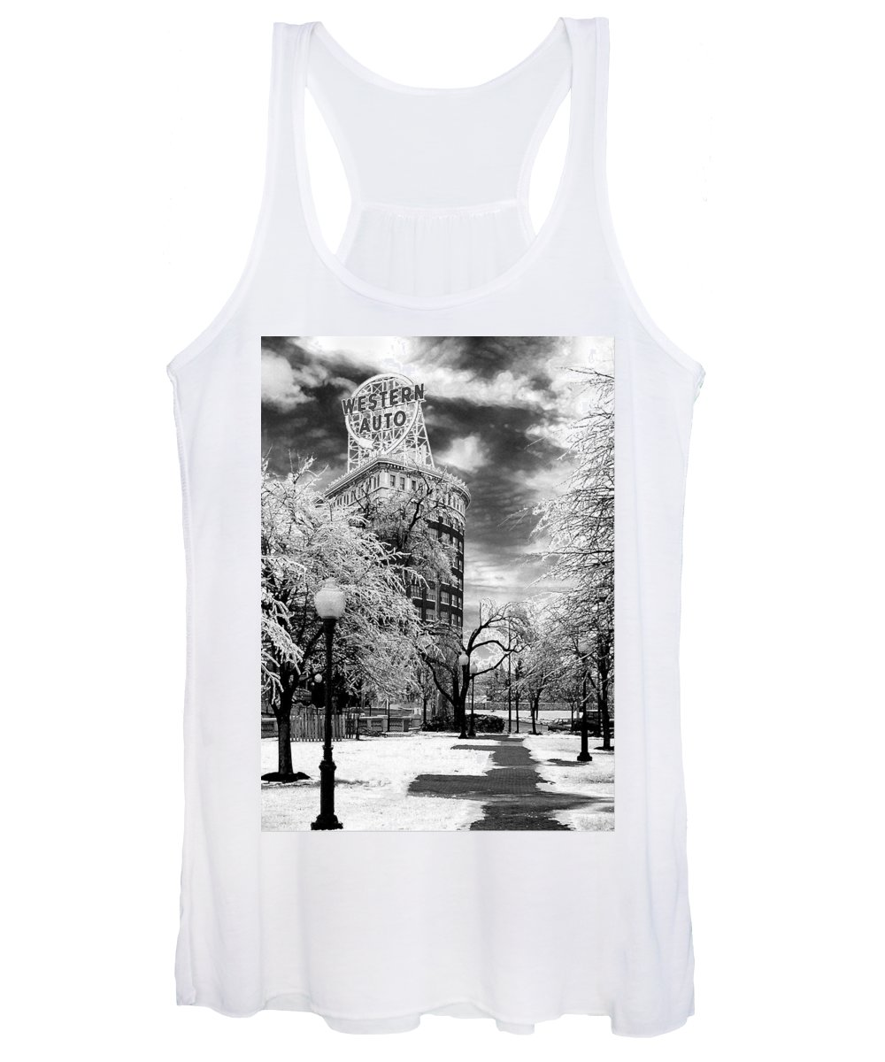 Western Auto Kansas City Women's Tank Top featuring the photograph Western Auto In Winter by Steve Karol