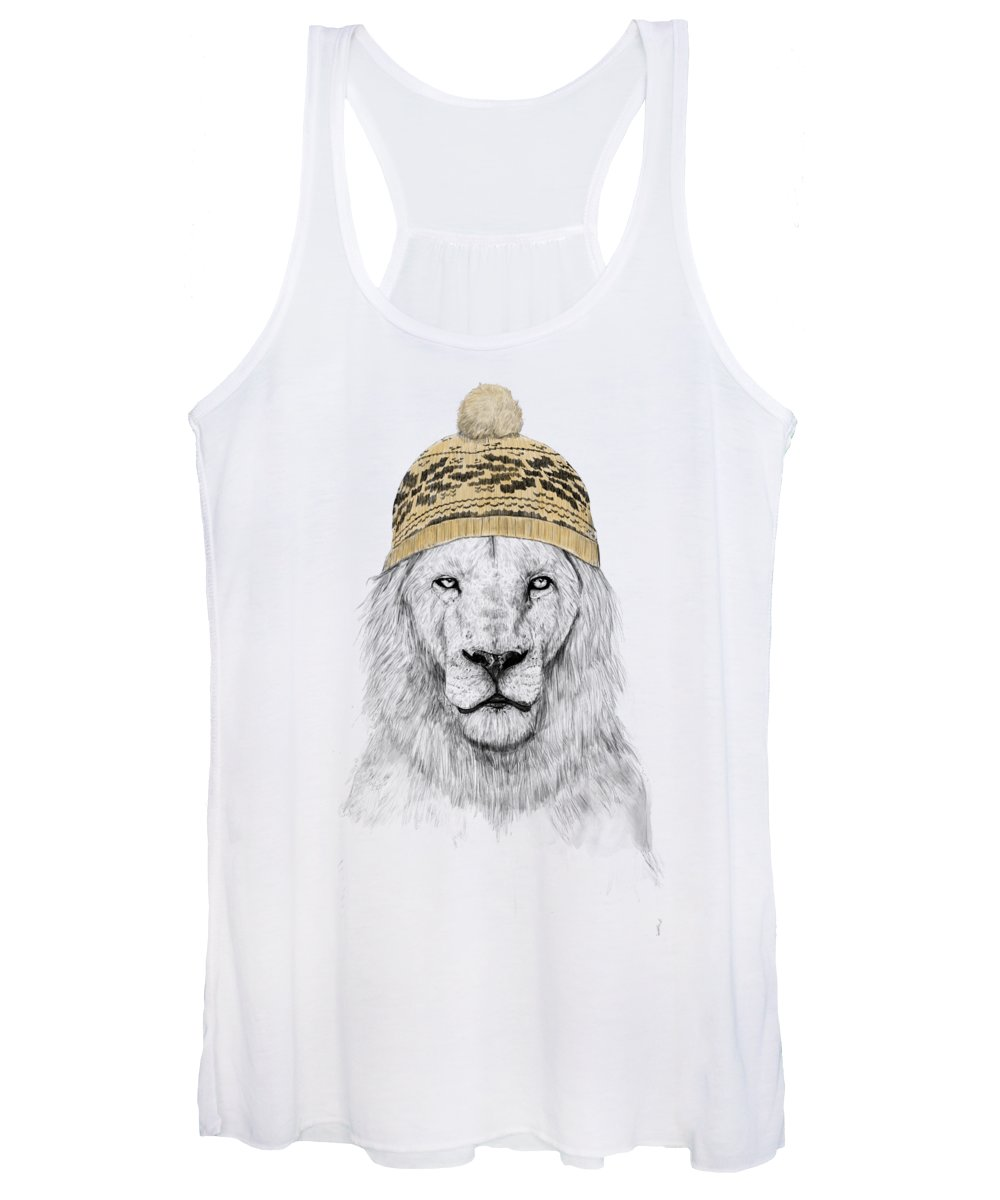 Lion Women's Tank Top featuring the mixed media Winter Is Coming by Balazs Solti