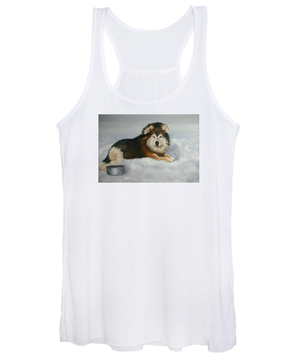 Wolf Women's Tank Top featuring the painting Wolf ,crossed by Keith Nolan