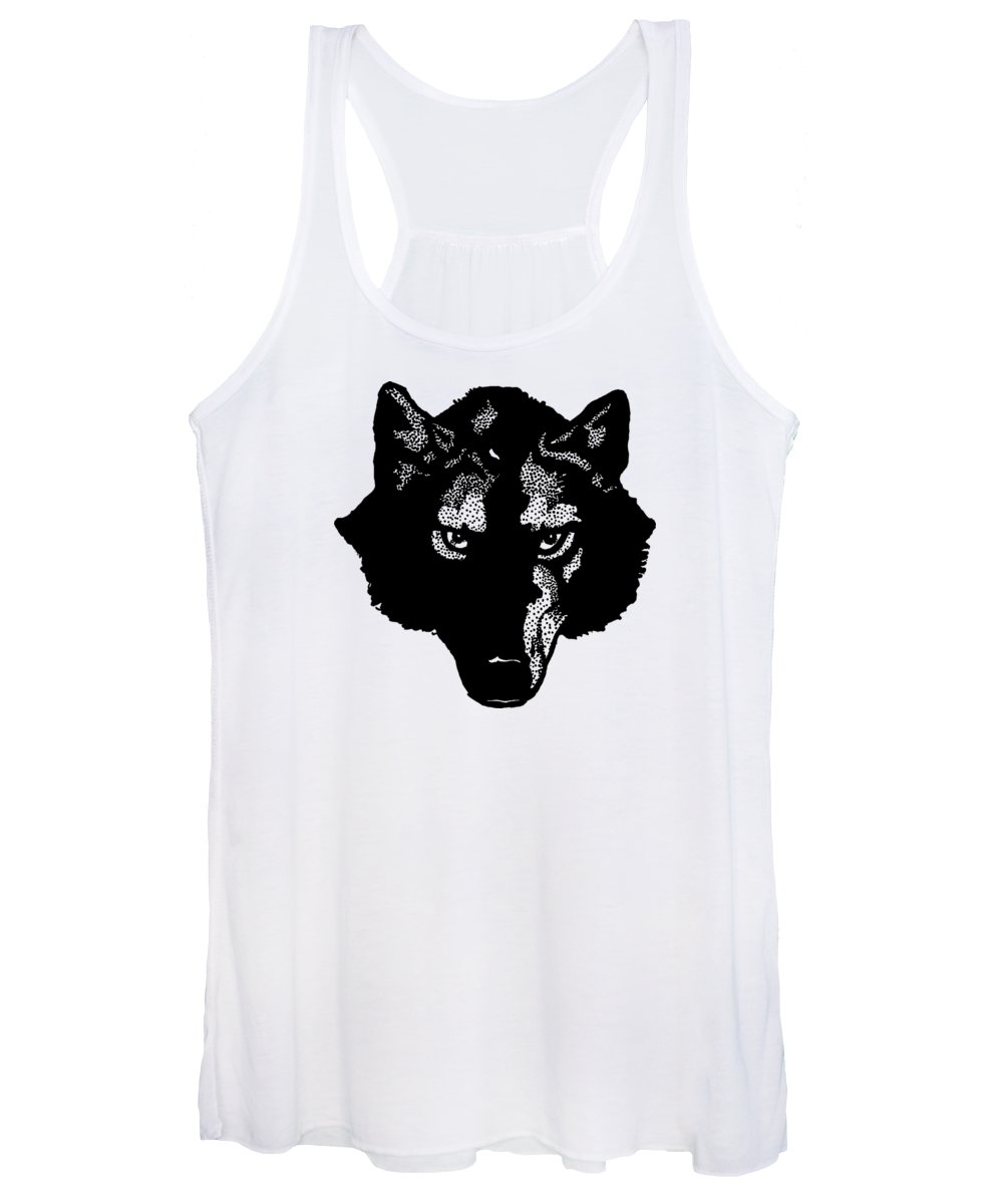 Wolf; Symbol; Graphic; Drawing; Team; Sport; Shirt; T-shirt; Animal; Wolves; Dog; Canine; Fielding; Edward; Vintage; Old; Bookmark; Jack London; Design; Illustration; Drawing; Classic Women's Tank Top featuring the digital art Wolf Tee by Edward Fielding