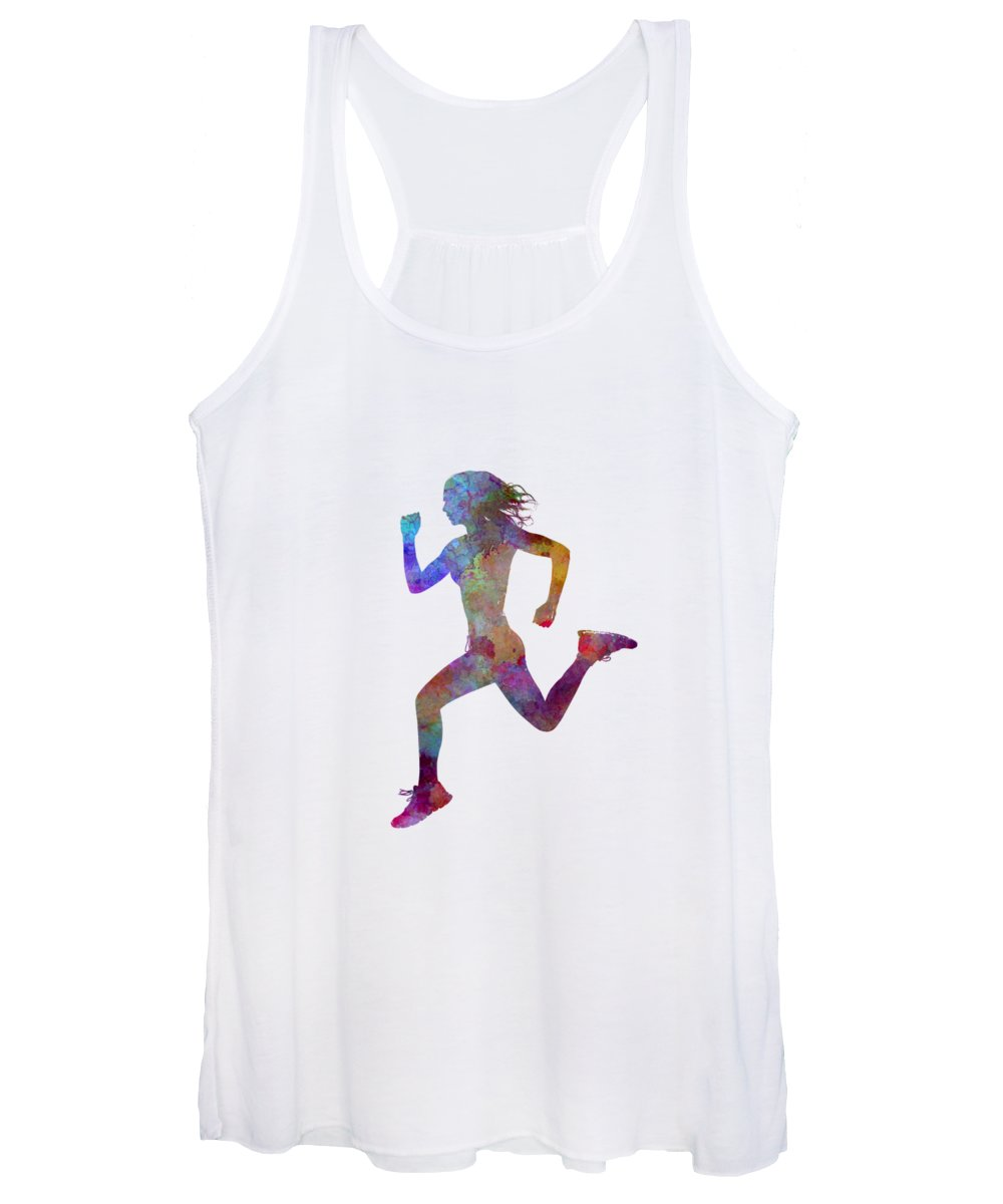 Runner Women's Tank Top featuring the painting Woman Runner Running Jogger Jogging Silhouette 01 by Pablo Romero
