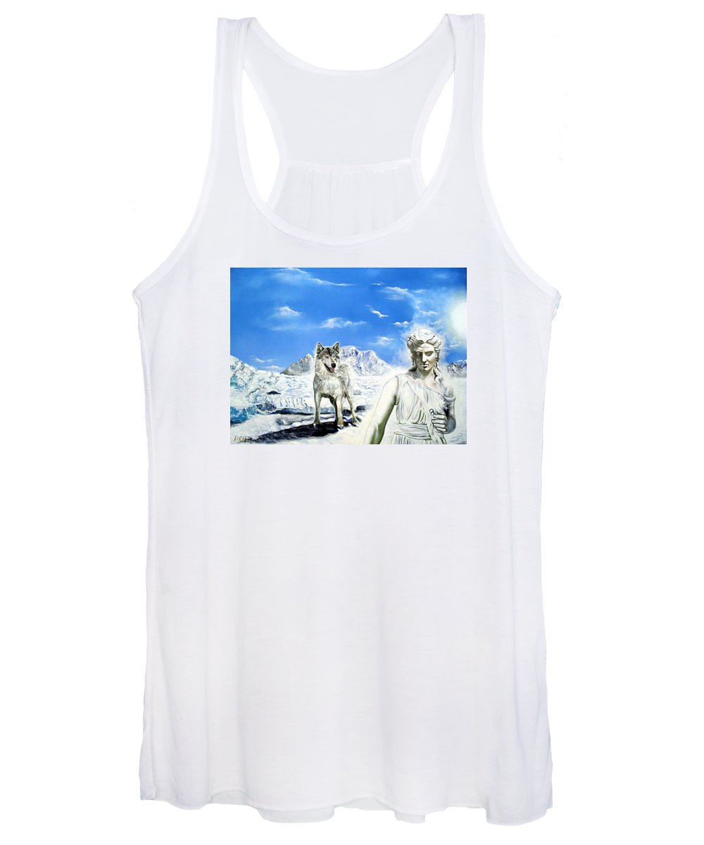Amazon Women's Tank Top featuring the painting Wounded Amazon by Gordon Behr