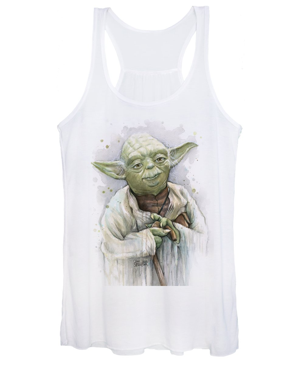 Yoda Women's Tank Top featuring the painting Yoda by Olga Shvartsur