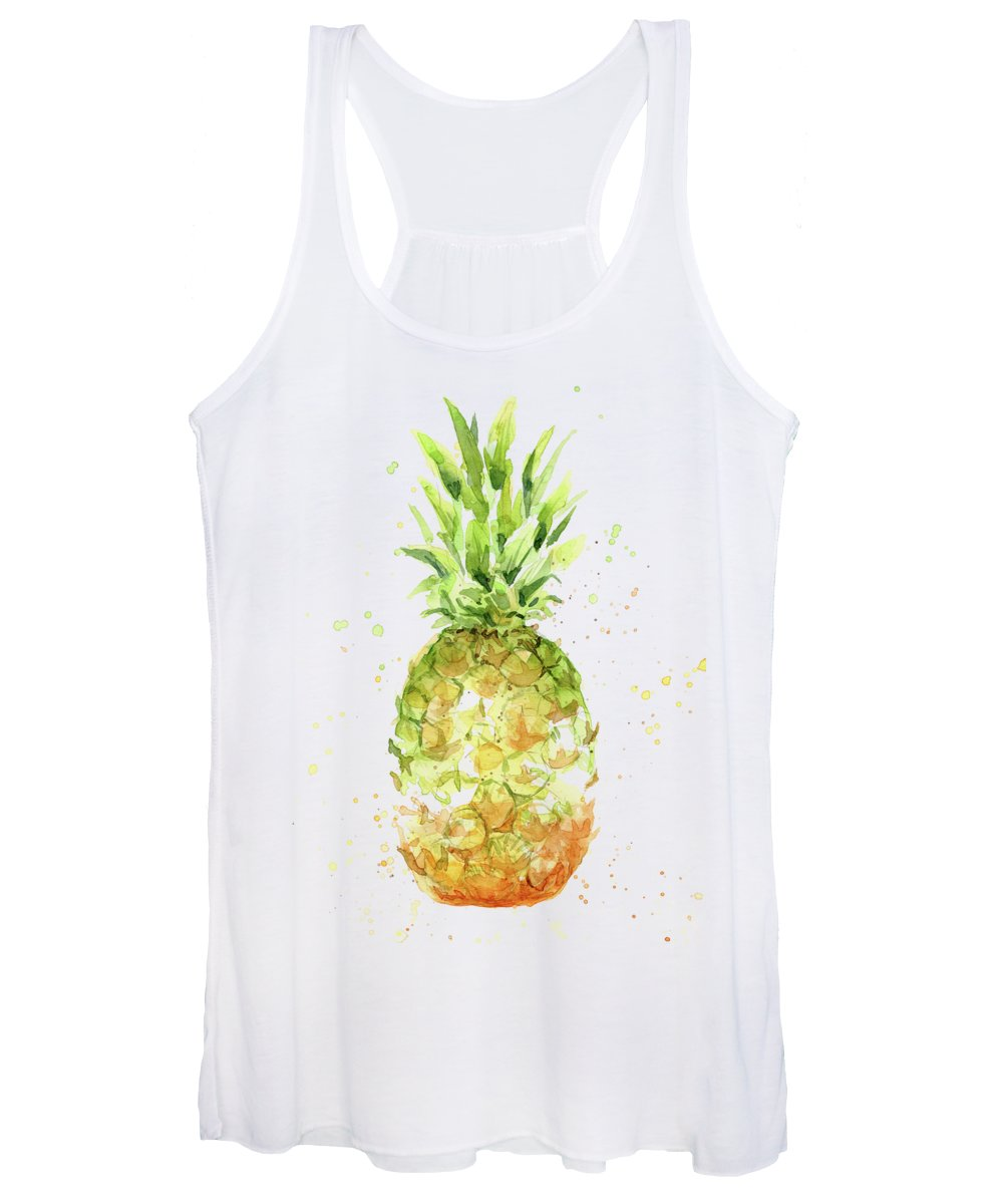 Pineapple Women's Tank Top featuring the painting Abstract Watercolor Pineapple by Olga Shvartsur