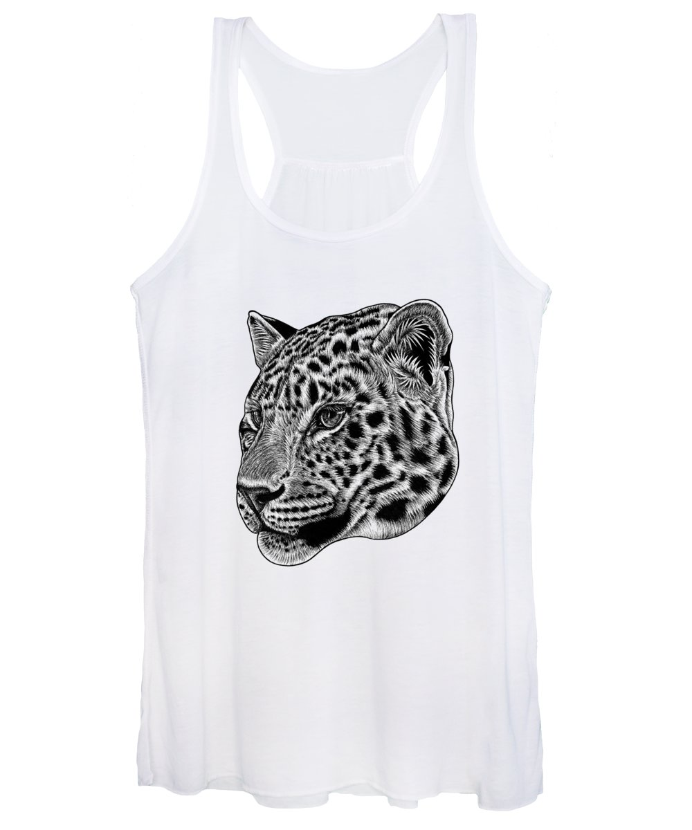 Leopard Women's Tank Top featuring the drawing Amur Leopard Cub - Ink Illustration by Loren Dowding