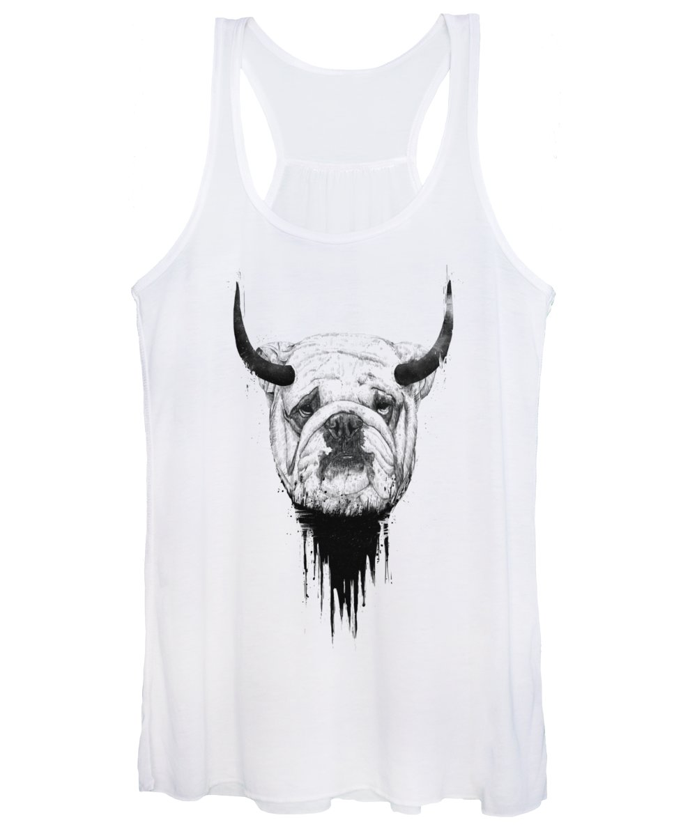 Bulldog Women's Tank Top featuring the drawing Bull Dog by Balazs Solti