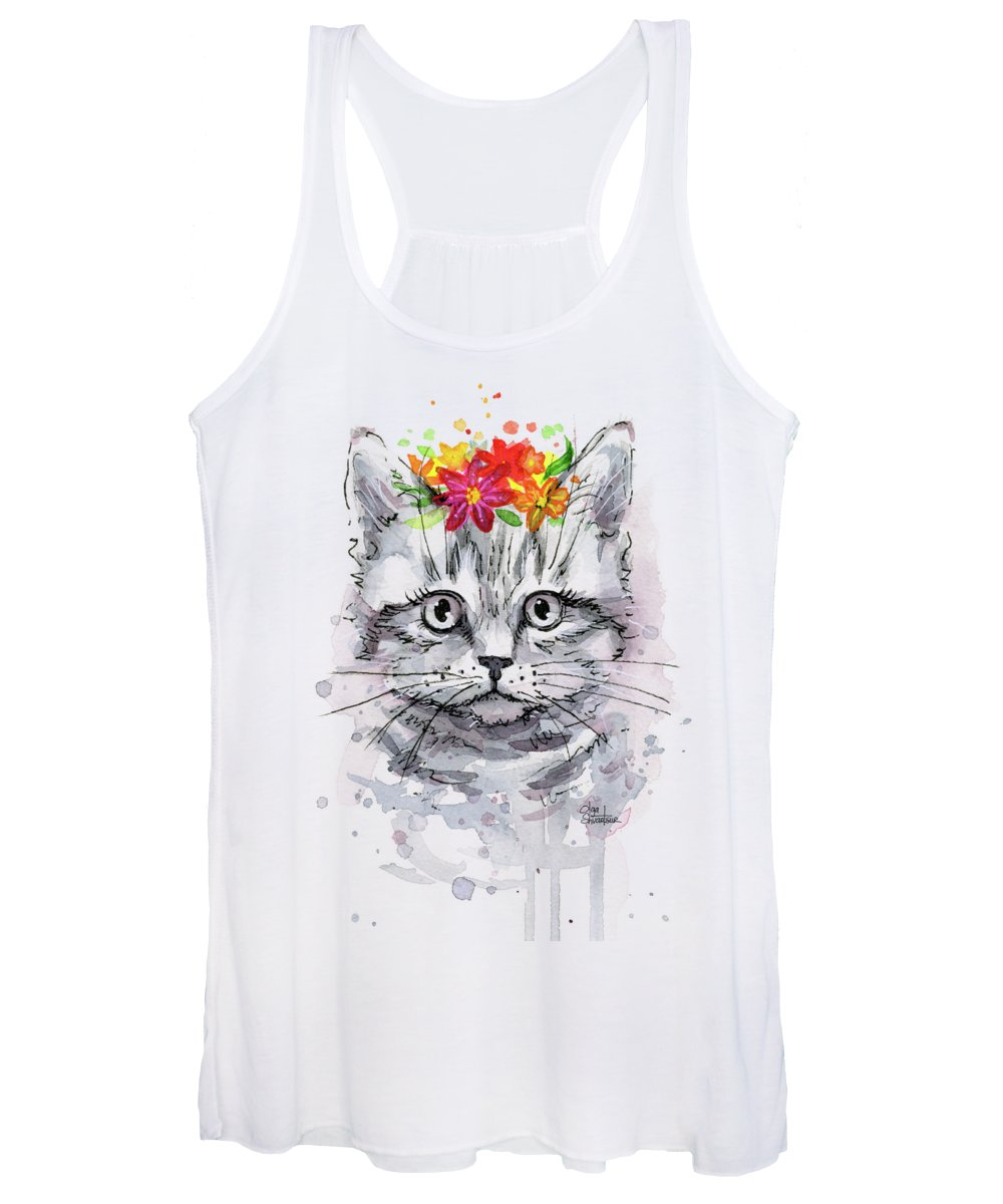 Cat Women's Tank Top featuring the painting Cat With Flowers by Olga Shvartsur