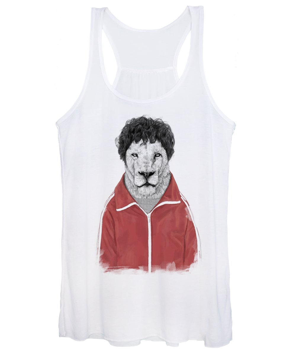 Lion Women's Tank Top featuring the drawing Chas by Balazs Solti