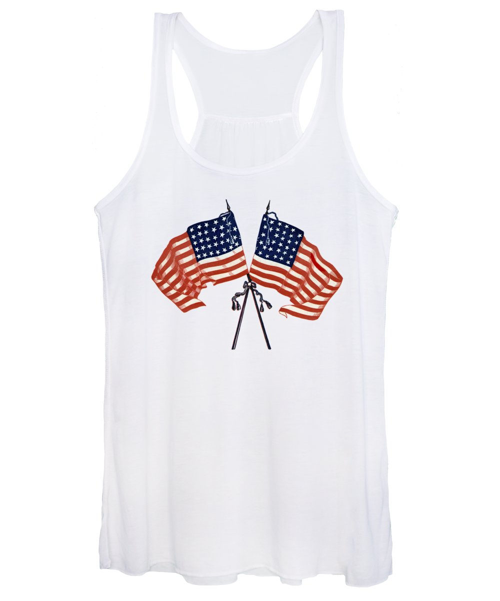 Civil War Women's Tank Top featuring the photograph Crossed Civil War Union Flags 1861 - T-shirt by Daniel Hagerman