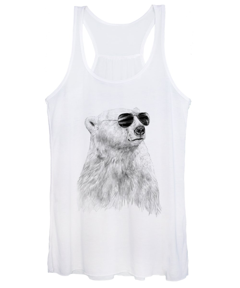 Polar Bear Women's Tank Top featuring the drawing Don't Let The Sun Go Down by Balazs Solti