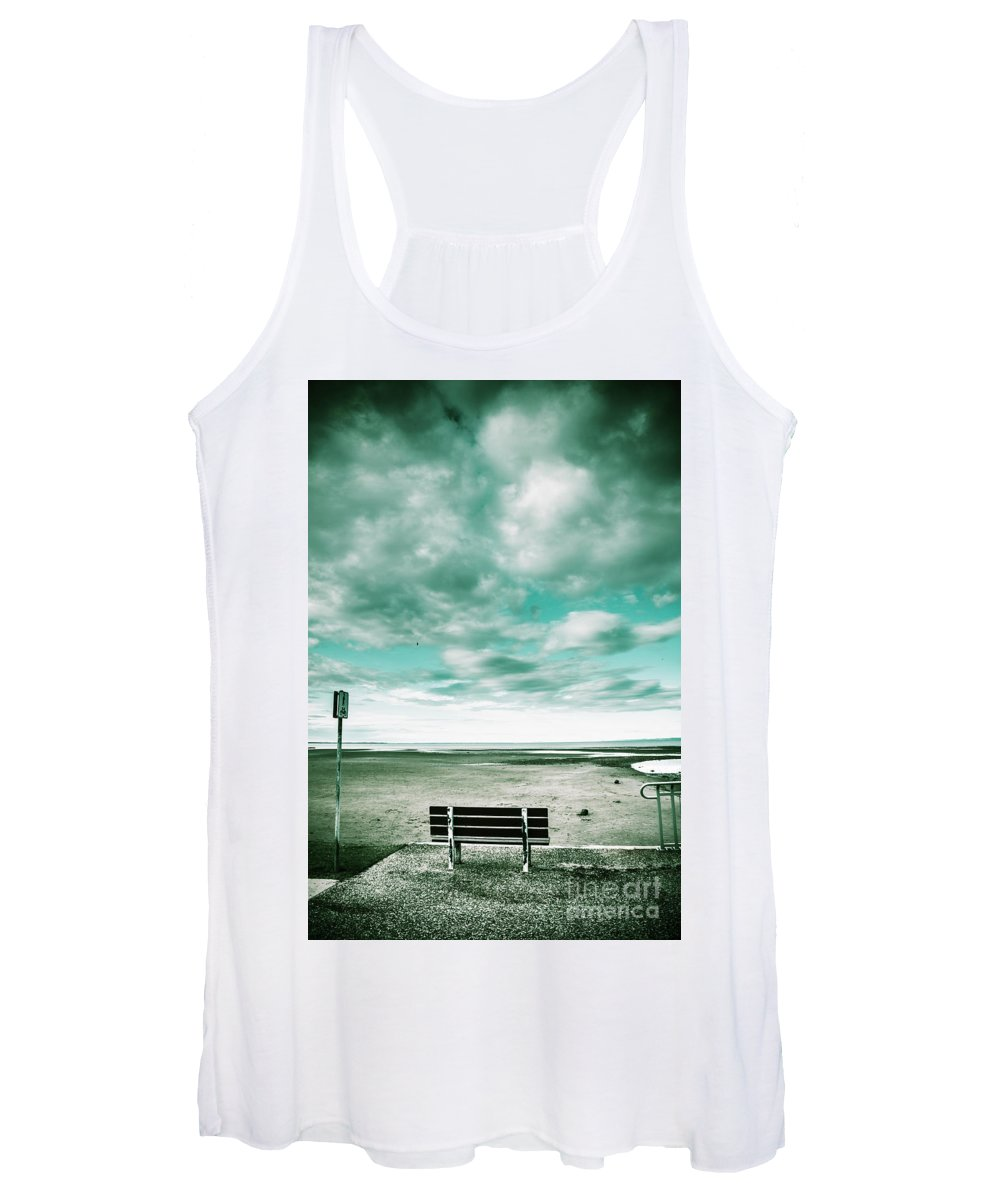 Beach Women's Tank Top featuring the photograph Empty Beach Bench by Jorgo Photography - Wall Art Gallery