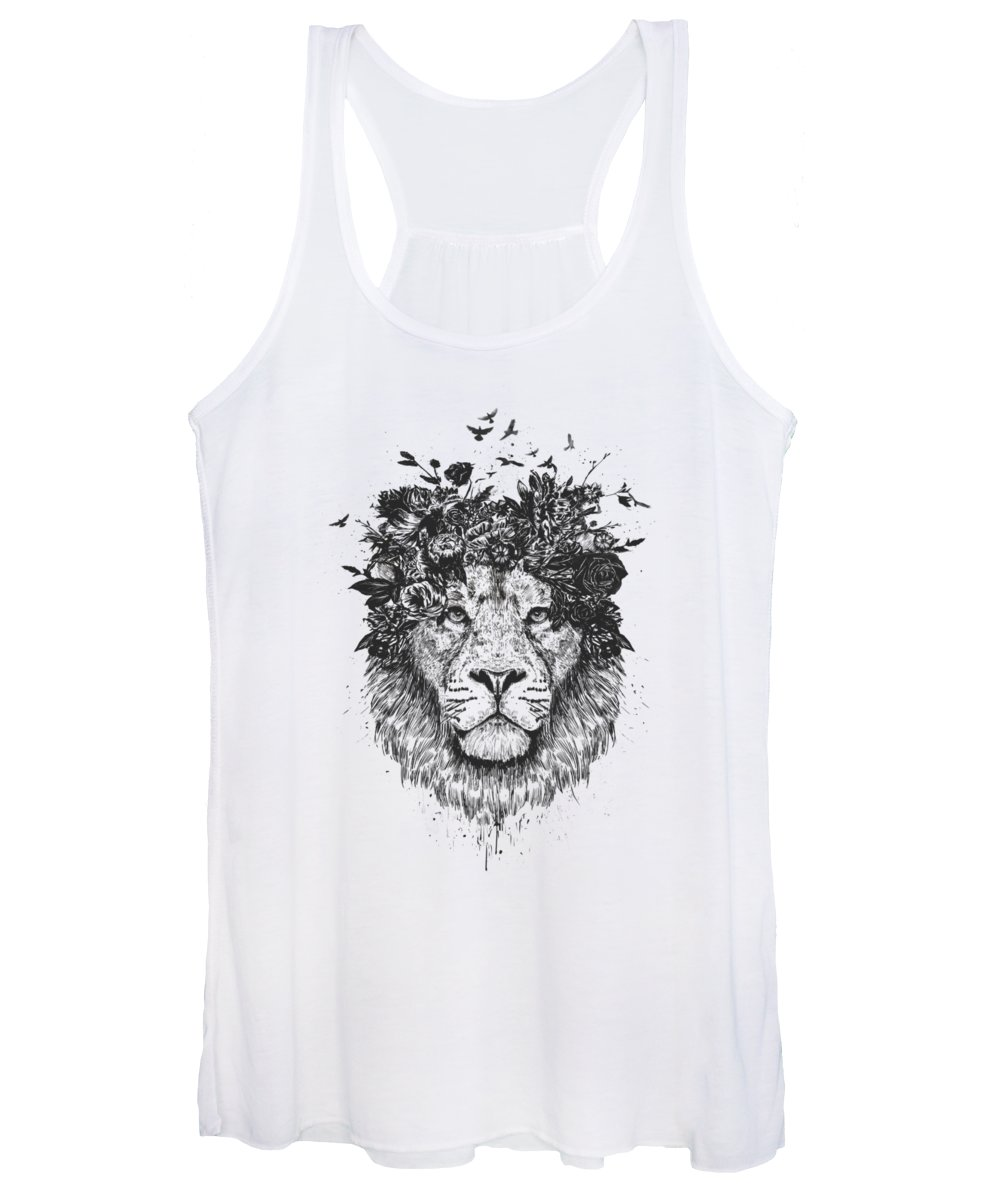 Lion Women's Tank Top featuring the drawing Floral Lion by Balazs Solti