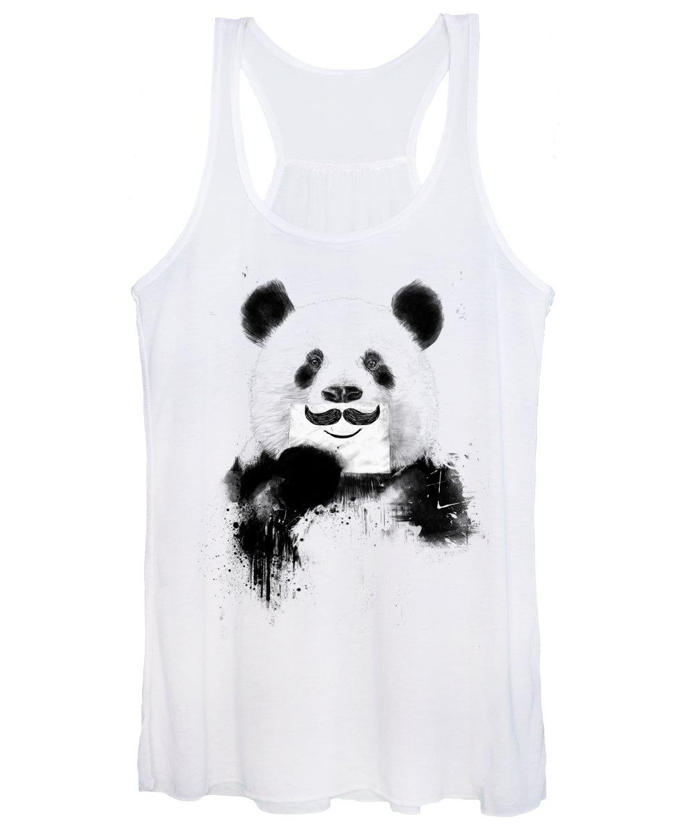 Panda Women's Tank Top featuring the mixed media Funny panda by Balazs Solti