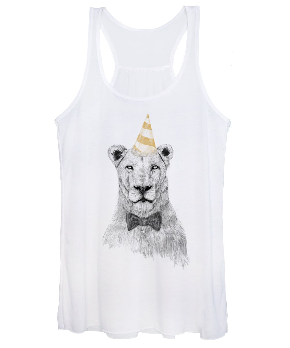 Lion Women's Tank Top featuring the drawing Get the party started by Balazs Solti