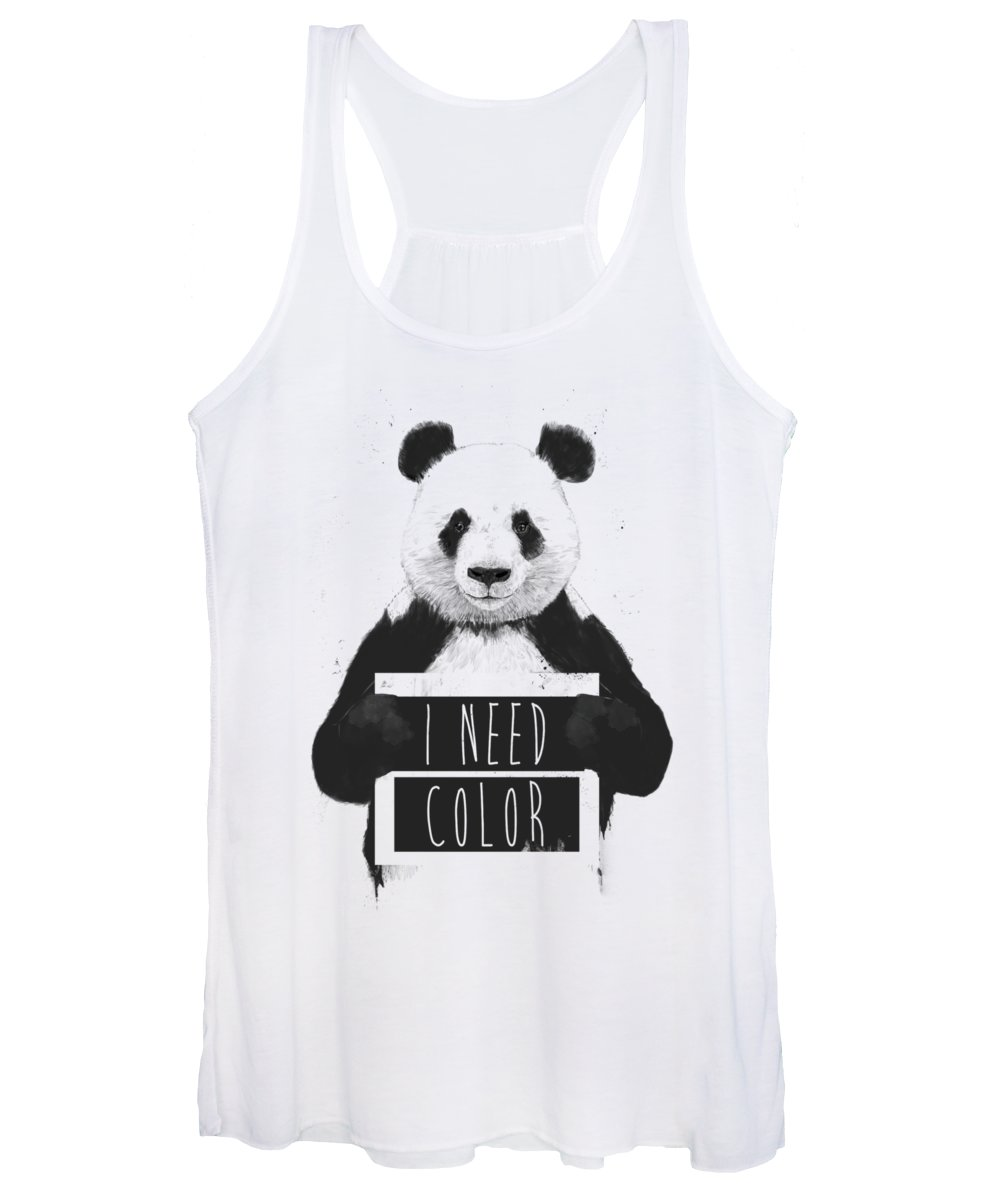 Panda Women's Tank Top featuring the mixed media I need color by Balazs Solti