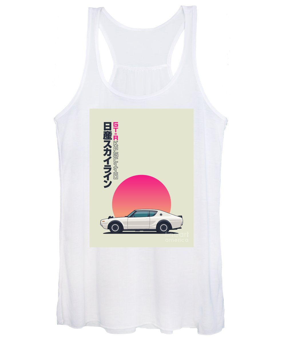 Gt-r Women's Tank Top featuring the digital art Kpgc110 Gt-r Side - Portrait White by Organic Synthesis