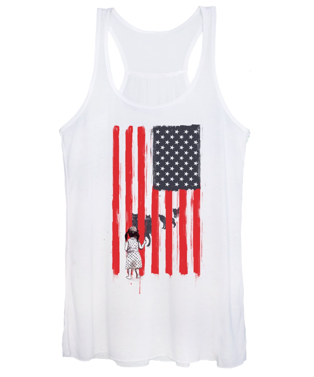 Usa Women's Tank Top featuring the painting Little girl and wolves by Balazs Solti
