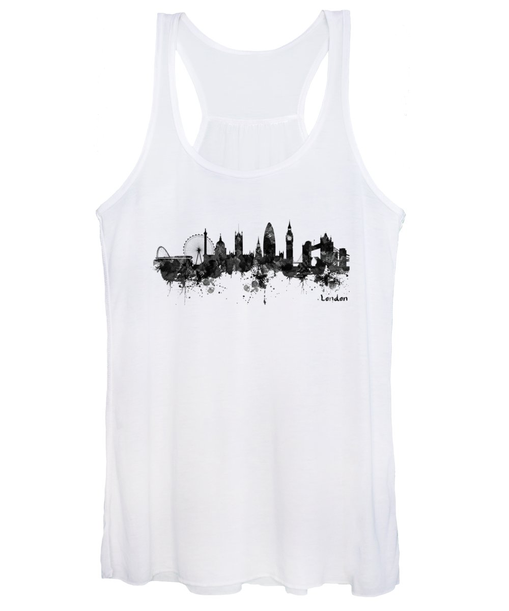London Women's Tank Top featuring the painting London Black And White Watercolor Skyline Silhouette by Marian Voicu