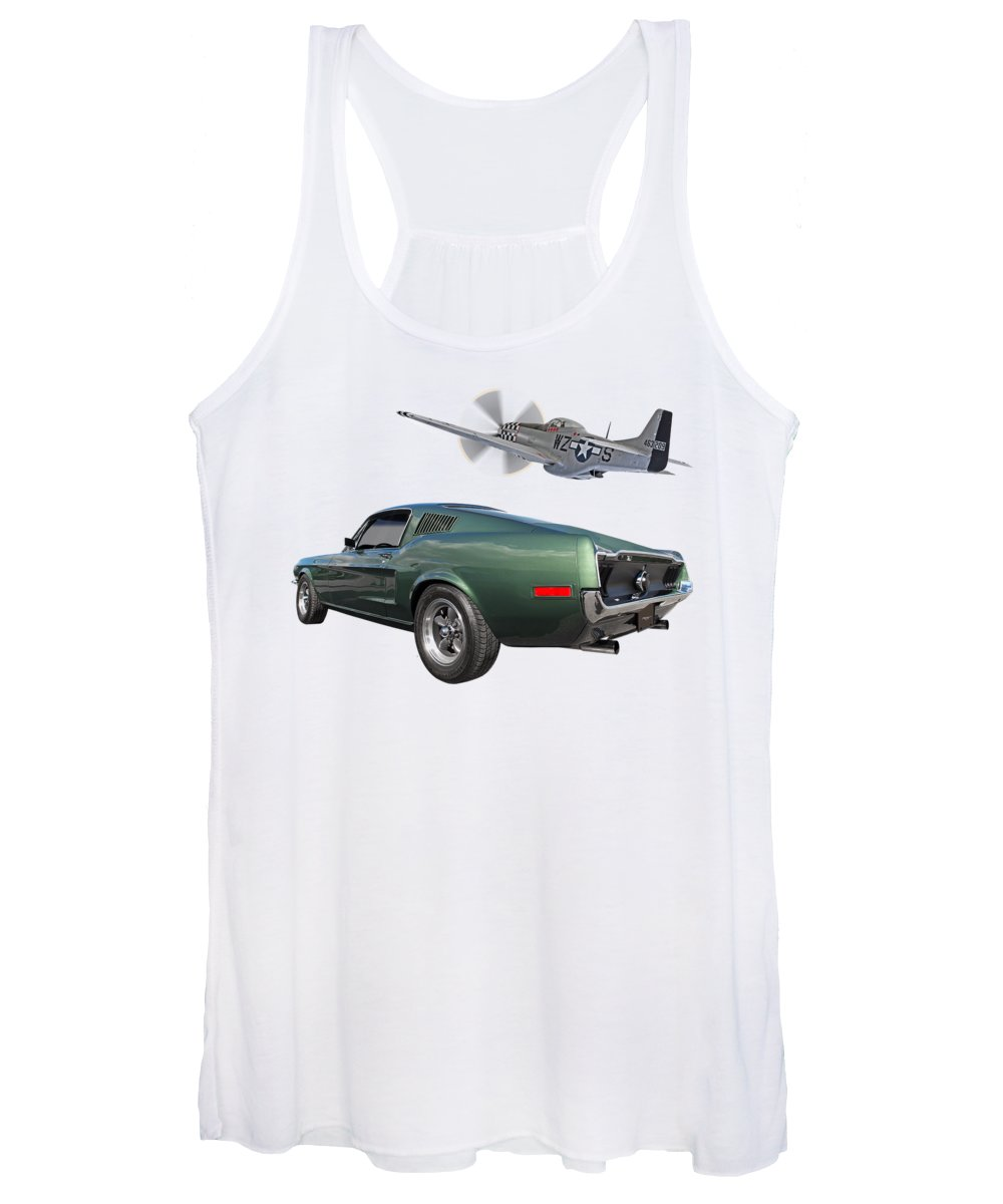 Ford Mustang Women's Tank Top featuring the photograph P51 With Bullitt Mustang by Gill Billington
