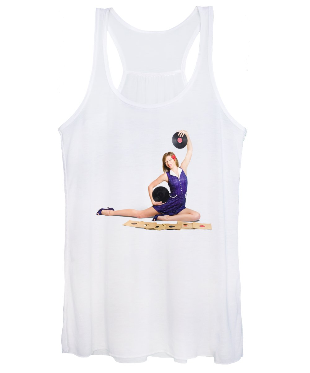 Jazz Women's Tank Top featuring the photograph Pin-up Woman Balancing Sound With Record Music by Jorgo Photography - Wall Art Gallery