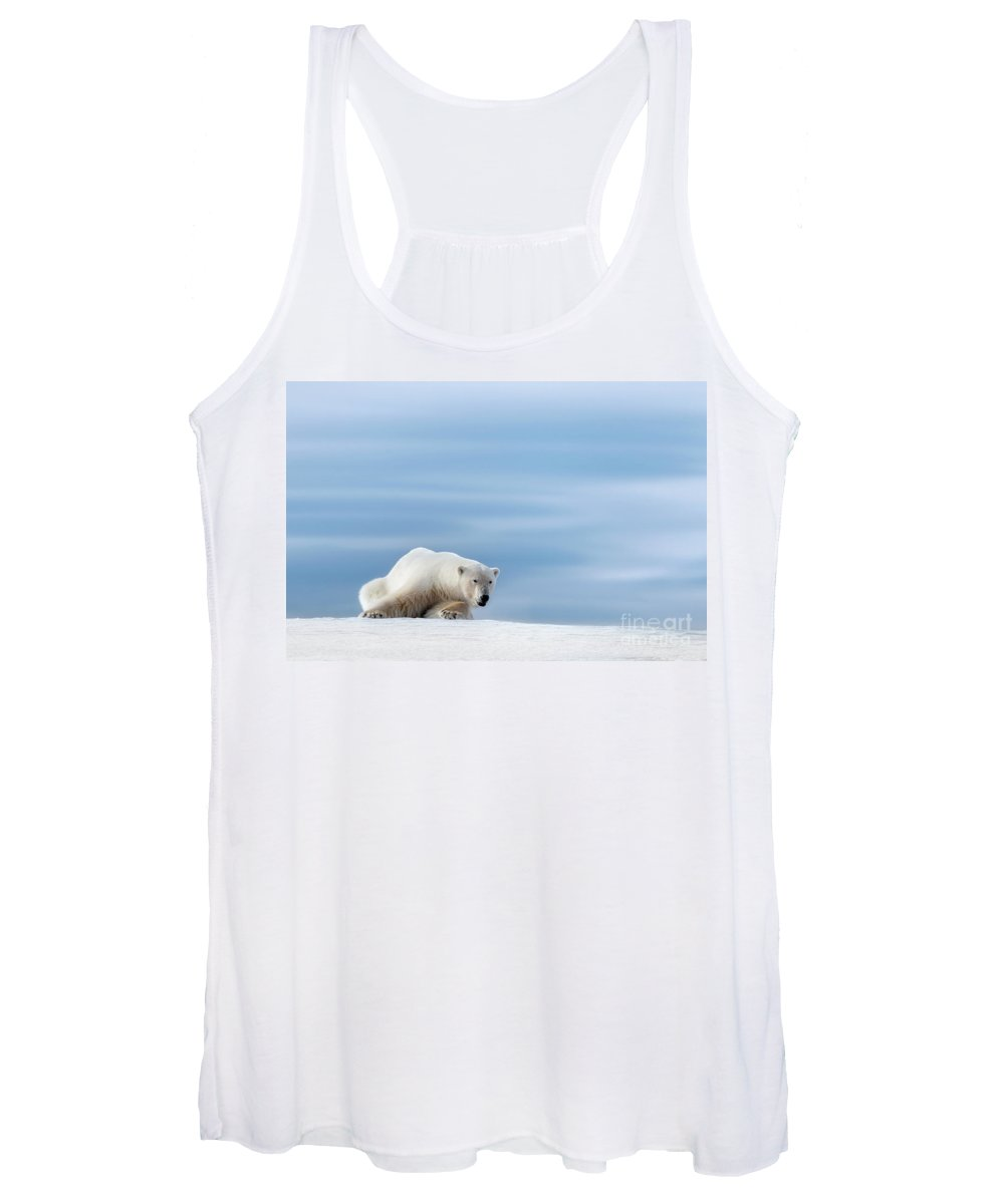 Polar Women's Tank Top featuring the photograph Polar Bear Crouching On The Frozen Snow Of Svalbard by Jane Rix