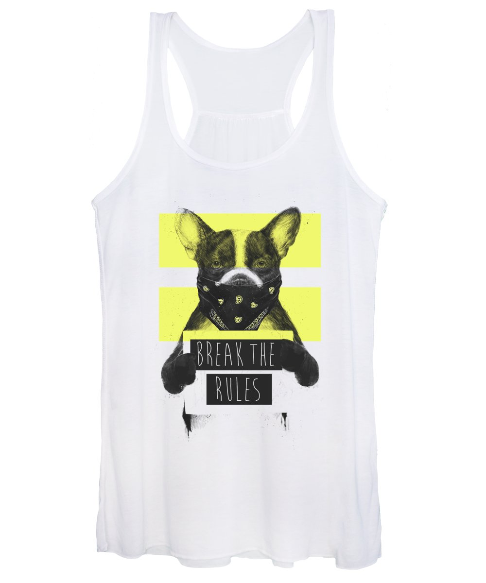 Dog Women's Tank Top featuring the mixed media Rebel Dog II by Balazs Solti