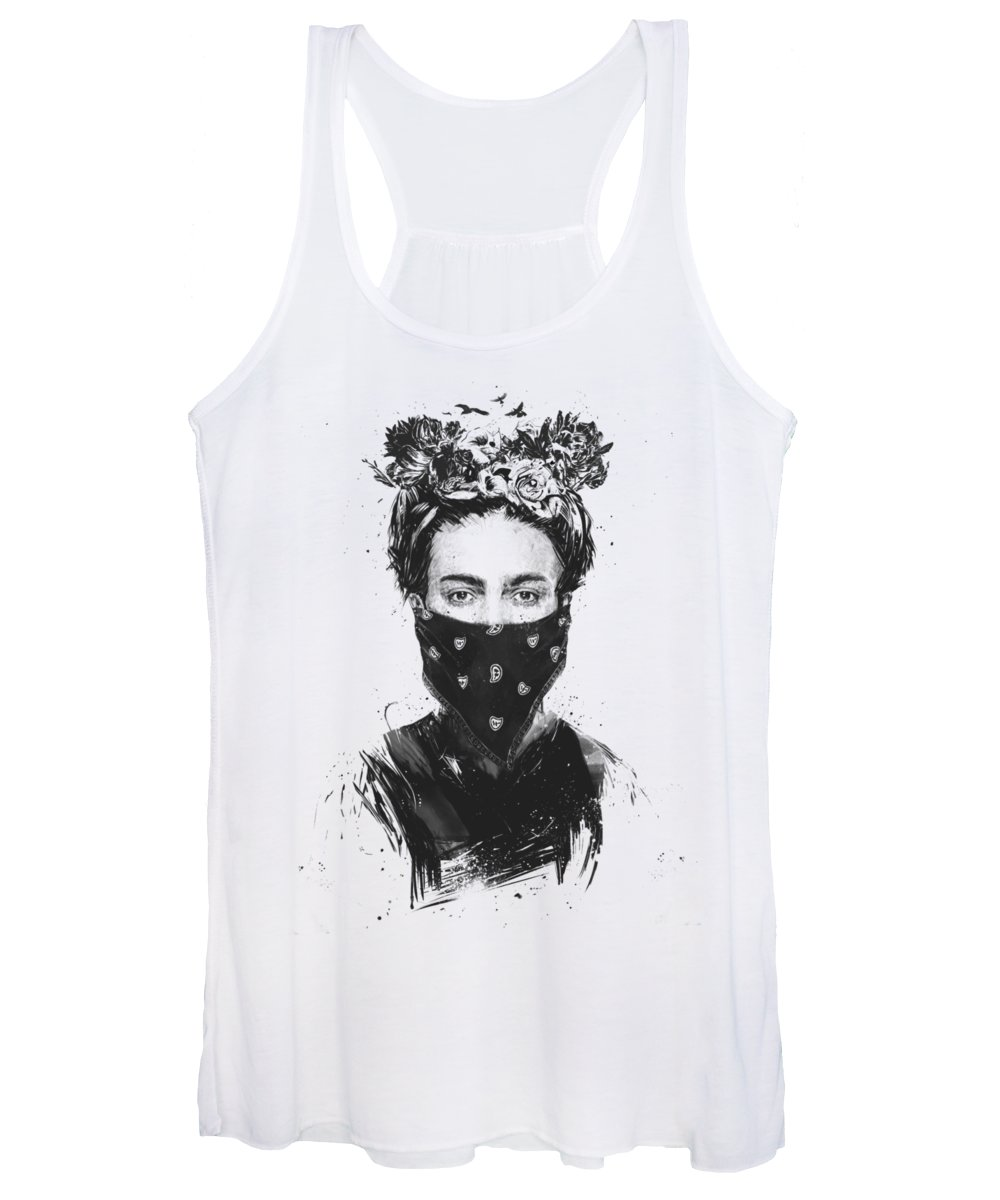 Girl Women's Tank Top featuring the drawing Rebel Girl by Balazs Solti