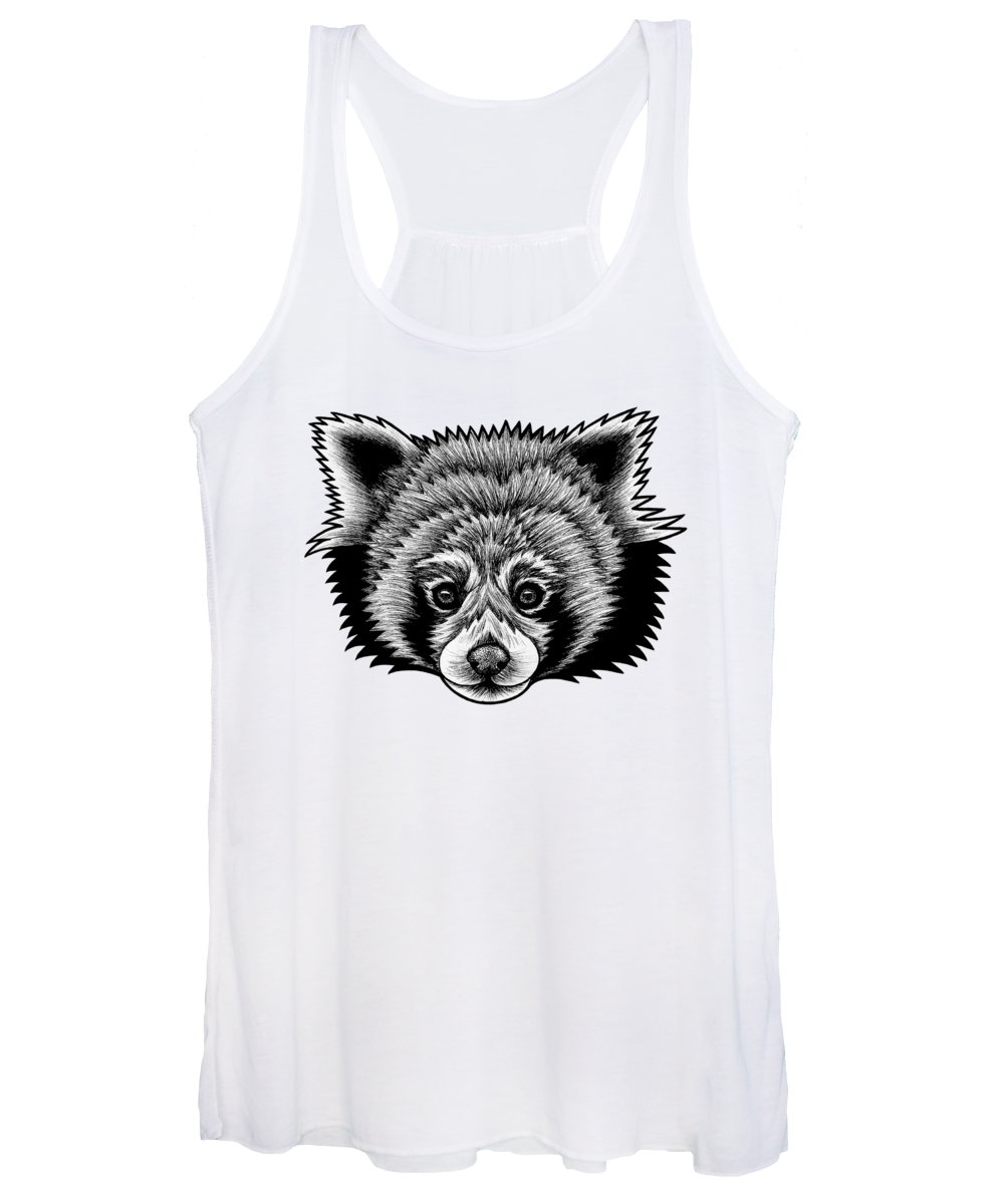 Panda Women's Tank Top featuring the drawing Red Panda - Ink Illustration by Loren Dowding