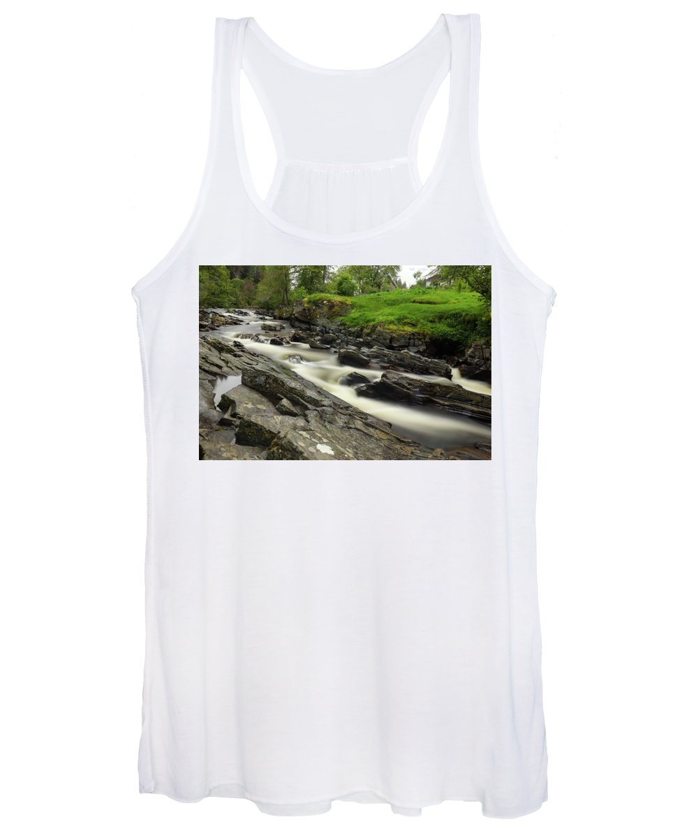 River Feshie Women's Tank Top featuring the photograph River Feshie Scotland by Gerry Durkin