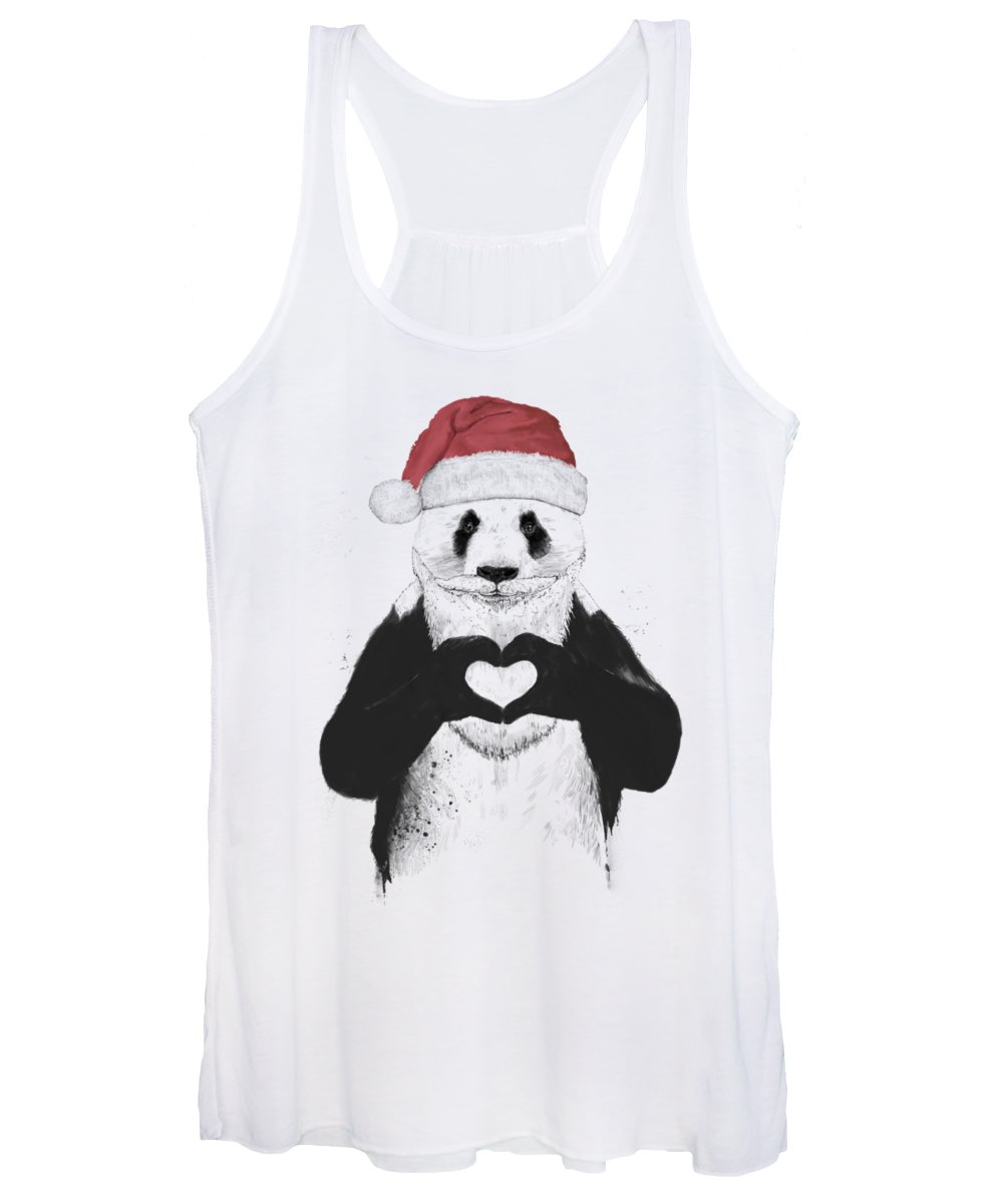 Panda Women's Tank Top featuring the mixed media Santa panda by Balazs Solti