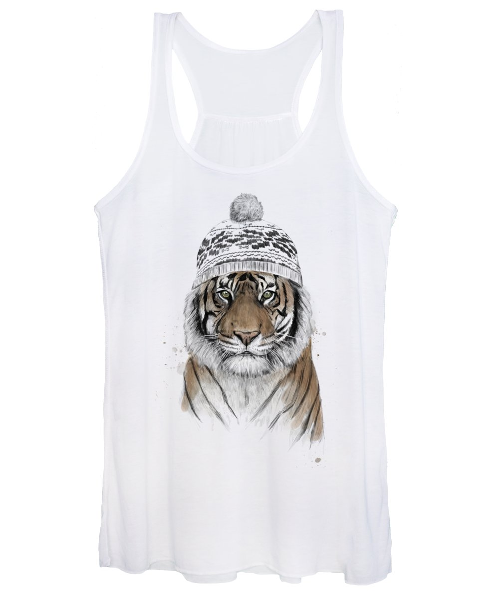 Tiger Women's Tank Top featuring the mixed media Siberian tiger by Balazs Solti