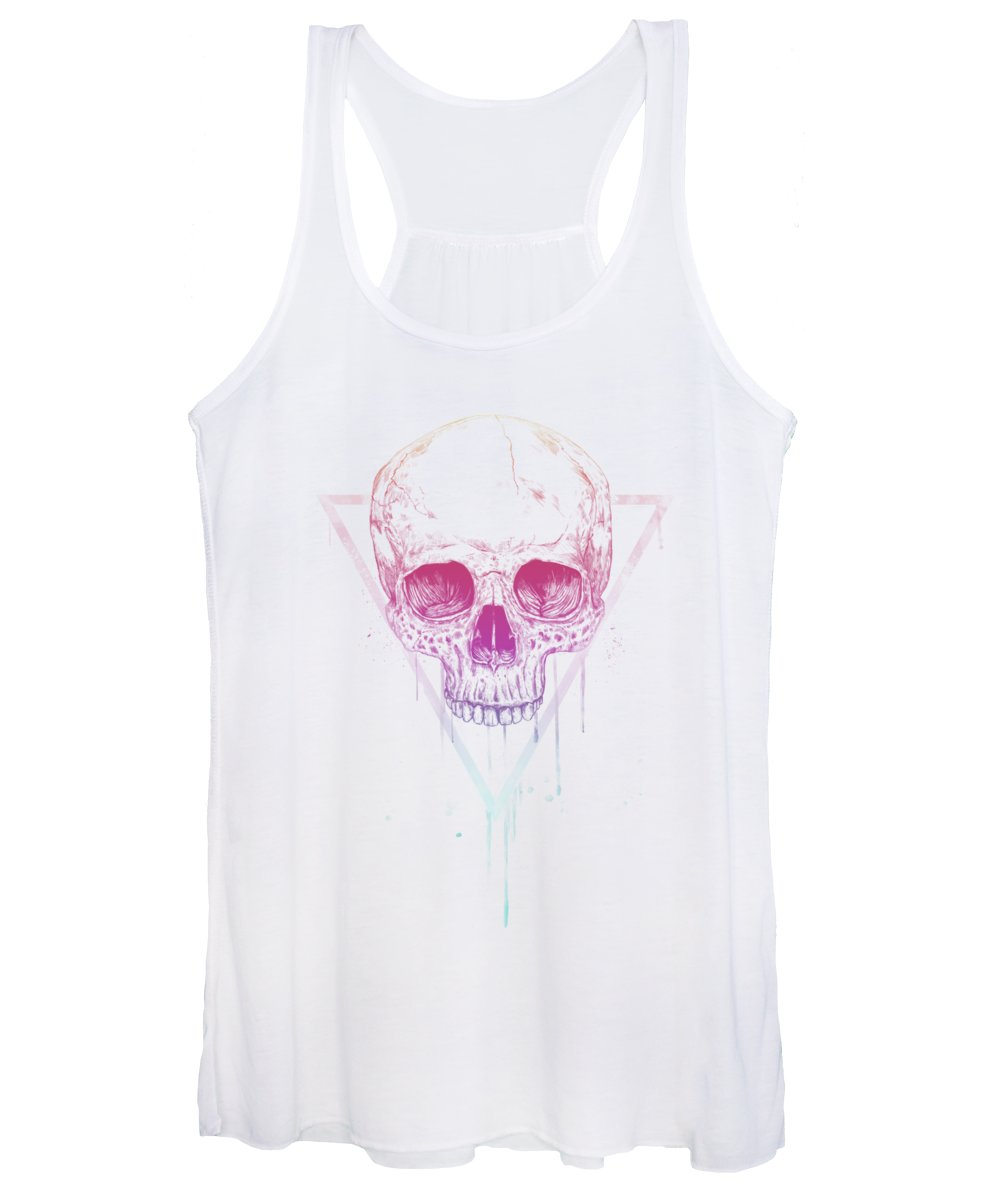 Skull Women's Tank Top featuring the mixed media Skull in triangle by Balazs Solti